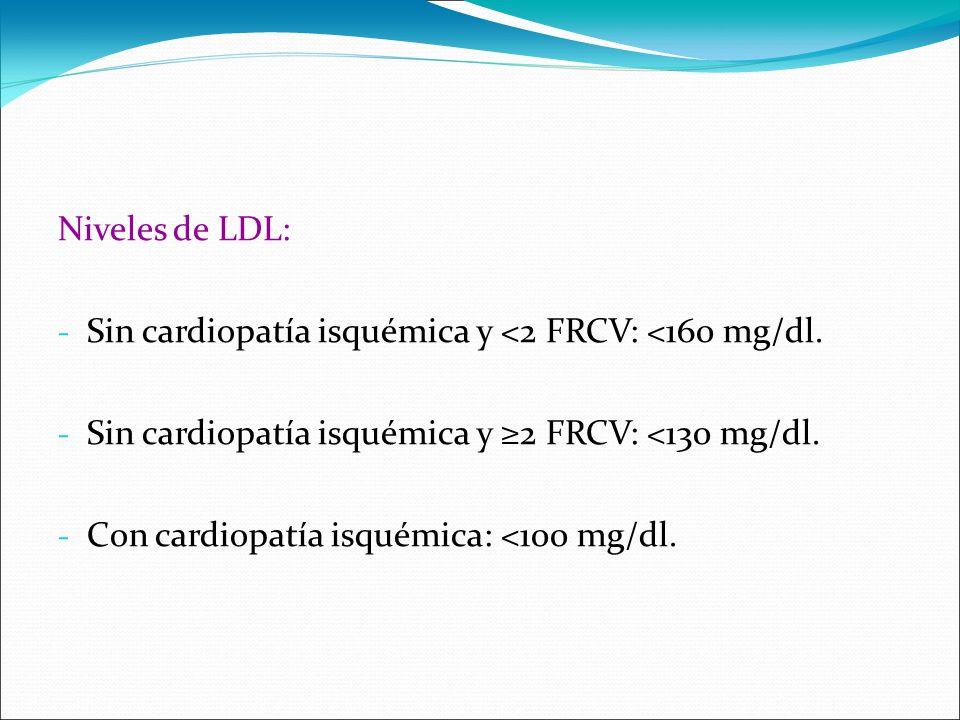 Niveles de LDL: - Sin cardiopatía isquémica y <2 FRCV: <160 mg/dl. - Sin cardiopatía isquémica y 2 FRCV: <130 mg/dl. - Con cardiopatía isquémica: <100