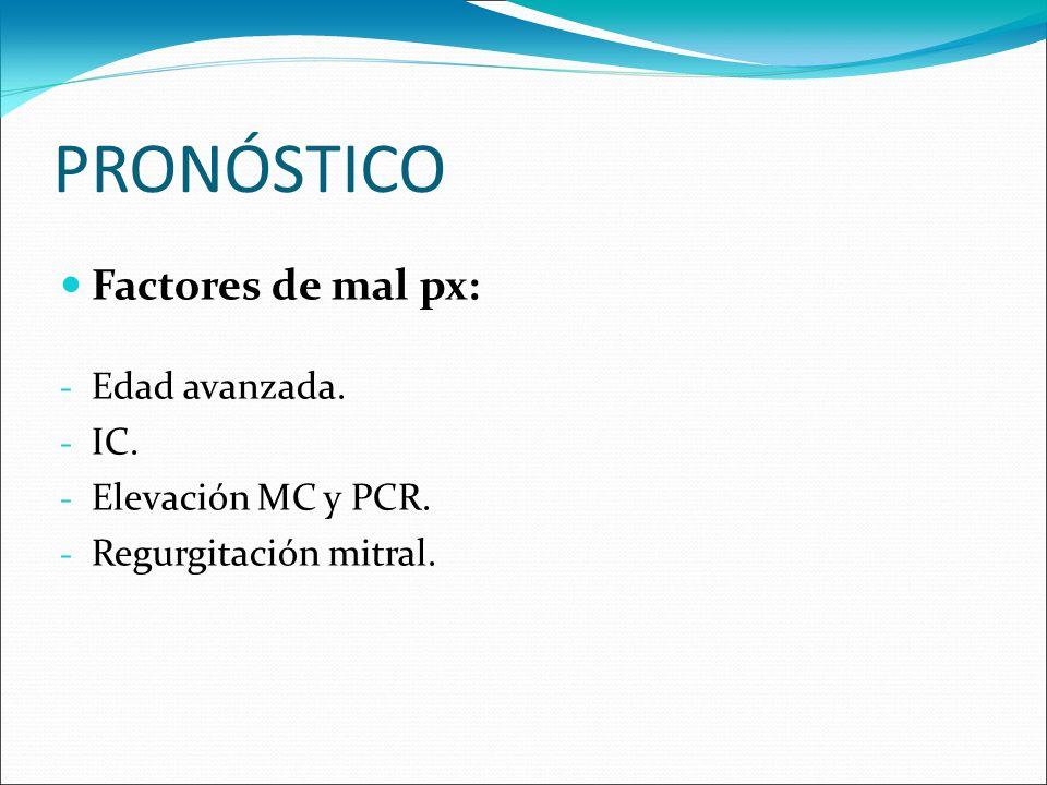 PRONÓSTICO Factores de mal px: - Edad avanzada. - IC. - Elevación MC y PCR. - Regurgitación mitral.