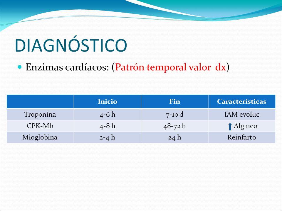 DIAGNÓSTICO Enzimas cardíacos: (Patrón temporal valor dx) InicioFinCaracterísticas Troponina4-6 h7-10 dIAM evoluc CPK-Mb4-8 h48-72 h Alg neo Mioglobin