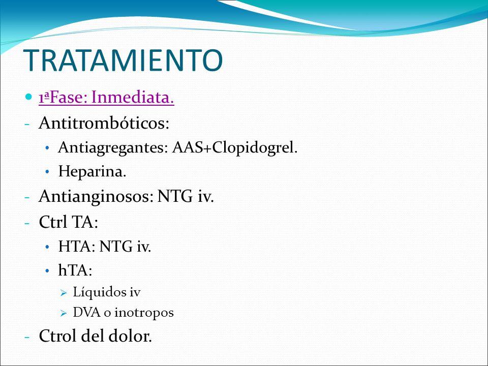 TRATAMIENTO 1ªFase: Inmediata. - Antitrombóticos: Antiagregantes: AAS+Clopidogrel. Heparina. - Antianginosos: NTG iv. - Ctrl TA: HTA: NTG iv. hTA: Líq
