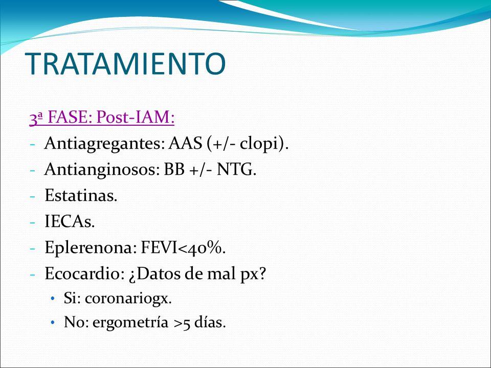 TRATAMIENTO 3ª FASE: Post-IAM: - Antiagregantes: AAS (+/- clopi). - Antianginosos: BB +/- NTG. - Estatinas. - IECAs. - Eplerenona: FEVI<40%. - Ecocard