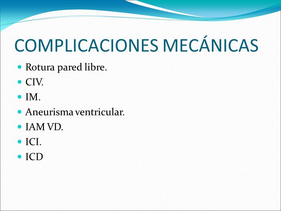 COMPLICACIONES MECÁNICAS Rotura pared libre. CIV. IM. Aneurisma ventricular. IAM VD. ICI. ICD