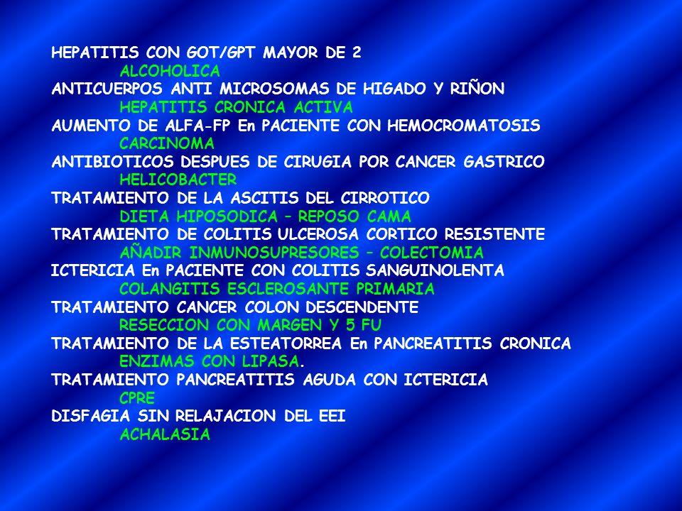 HEPATITIS CON GOT/GPT MAYOR DE 2 ALCOHOLICA ANTICUERPOS ANTI MICROSOMAS DE HIGADO Y RIÑON HEPATITIS CRONICA ACTIVA AUMENTO DE ALFA-FP En PACIENTE CON HEMOCROMATOSIS CARCINOMA ANTIBIOTICOS DESPUES DE CIRUGIA POR CANCER GASTRICO HELICOBACTER TRATAMIENTO DE LA ASCITIS DEL CIRROTICO DIETA HIPOSODICA – REPOSO CAMA TRATAMIENTO DE COLITIS ULCEROSA CORTICO RESISTENTE AÑADIR INMUNOSUPRESORES – COLECTOMIA ICTERICIA En PACIENTE CON COLITIS SANGUINOLENTA COLANGITIS ESCLEROSANTE PRIMARIA TRATAMIENTO CANCER COLON DESCENDENTE RESECCION CON MARGEN Y 5 FU TRATAMIENTO DE LA ESTEATORREA En PANCREATITIS CRONICA ENZIMAS CON LIPASA.