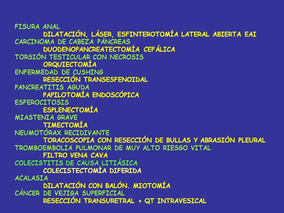 FISURA ANAL DILATACIÓN, LÁSER, ESFINTEROTOMÍA LATERAL ABIERTA EAI CARCINOMA DE CABEZA PÁNCREAS DUODENOPANCREATECTOMÍA CEFÁLICA TORSIÓN TESTICULAR CON NECROSIS ORQUIECTOMÍA ENFERMEDAD DE CUSHING RESECCIÓN TRANSESFENOIDAL PANCREATITIS AGUDA PAPILOTOMÍA ENDOSCÓPICA ESFEROCITOSIS ESPLENECTOMÍA MIASTENIA GRAVE TIMECTOMÍA NEUMOTÓRAX RECIDIVANTE TORACOSCOPIA CON RESECCIÓN DE BULLAS Y ABRASIÓN PLEURAL TROMBOEMBOLIA PULMONAR DE MUY ALTO RIESGO VITAL FILTRO VENA CAVA COLECISTITIS DE CAUSA LITIÁSICA COLECISTECTOMÍA DIFERIDA ACALASIA DILATACIÓN CON BALÓN.