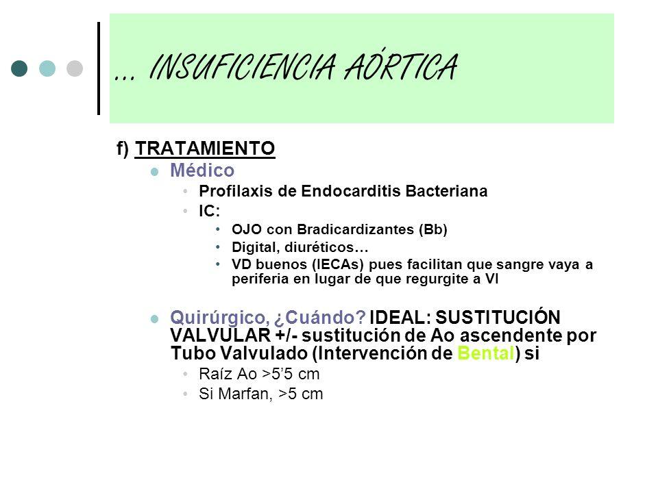 f) TRATAMIENTO Médico Profilaxis de Endocarditis Bacteriana IC: OJO con Bradicardizantes (Bb) Digital, diuréticos… VD buenos (IECAs) pues facilitan qu