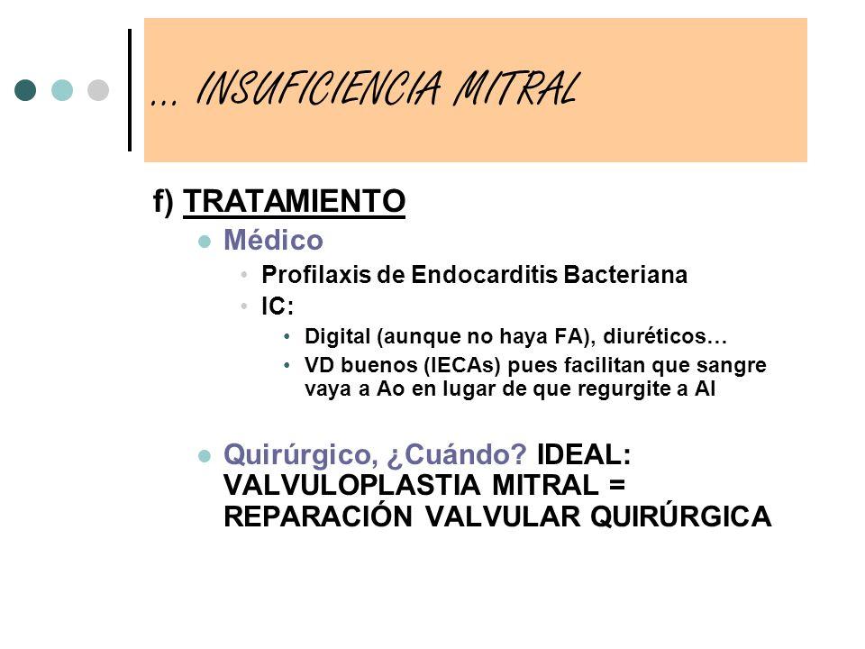 f) TRATAMIENTO Médico Profilaxis de Endocarditis Bacteriana IC: Digital (aunque no haya FA), diuréticos… VD buenos (IECAs) pues facilitan que sangre v