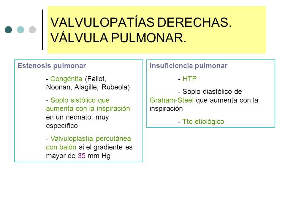 VALVULOPATÍAS DERECHAS. VÁLVULA PULMONAR. Estenosis pulmonar - Congénita (Fallot, Noonan, Alagille, Rubeola) - Soplo sistólico que aumenta con la insp