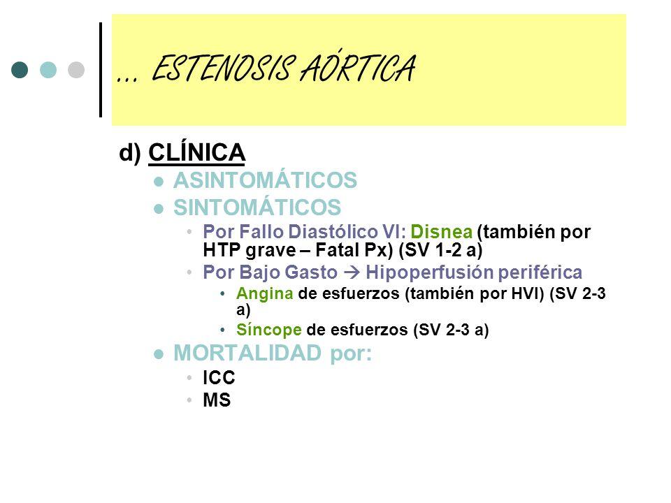 e) DIAGNÓSTICO EXPLORACIÓN FÍSICA Pulsos: Carotídeo: parvus et tardus Yugular: onda a aumentada (por reducción de DISTENSIBILIDAD SEPTAL) (NO EN FA) AC: S1-Soplo Sistólico rudo romboidal (puede irradiar a región supraesternal y carótidas o estar disminuído si ICS )-S2 disminuído (por calcificación Ao y poca PAo), o con desdoblamiento paradójico (RECORDAD PAAP: aquí sería P2 antes que A2)-S4 (NO EN FA) ECOCARDIOGRAMA Estenosis Severa si: Gradiente sistólico entre VI y Ao > 50 mmHg Área valvular < 1 cm2 (si < 04, estenosis crítica) CATETERISMO CARDIACO Realizar cuando Dudas, te da el gradiente definitivo PreQº para ver si hay lesiones en coronarias Angina de esfuerzos (descartar que la clínica sea por cardiopatía isquémica) … ESTENOSIS AÓRTICA