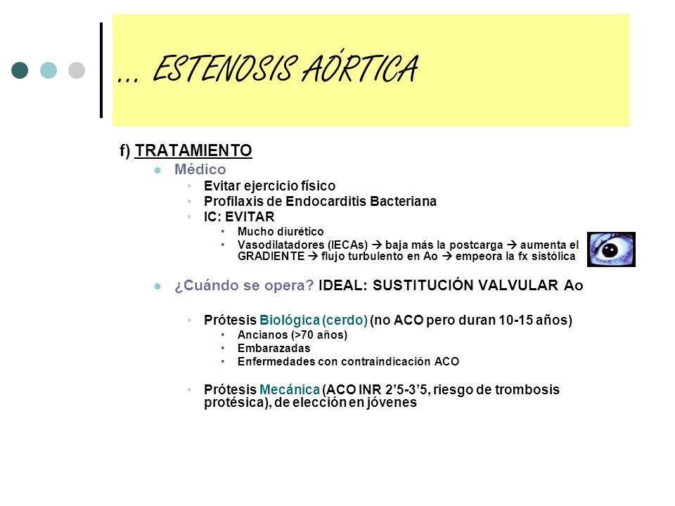f) TRATAMIENTO Médico Evitar ejercicio físico Profilaxis de Endocarditis Bacteriana IC: EVITAR Mucho diurético Vasodilatadores (IECAs) baja más la pos