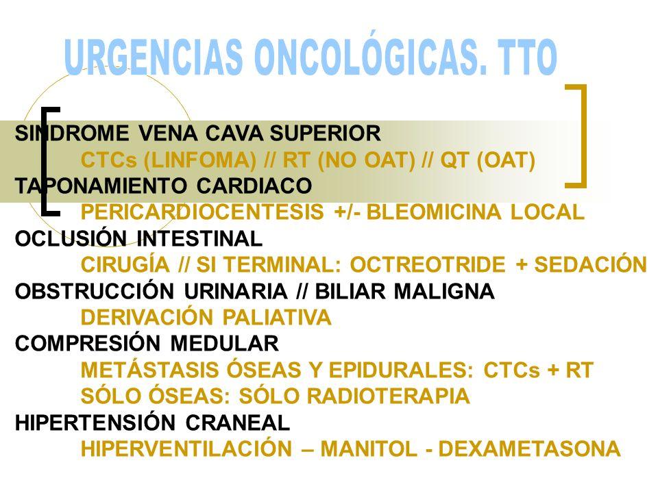 SINDROME VENA CAVA SUPERIOR CTCs (LINFOMA) // RT (NO OAT) // QT (OAT) TAPONAMIENTO CARDIACO PERICARDIOCENTESIS +/- BLEOMICINA LOCAL OCLUSIÓN INTESTINA