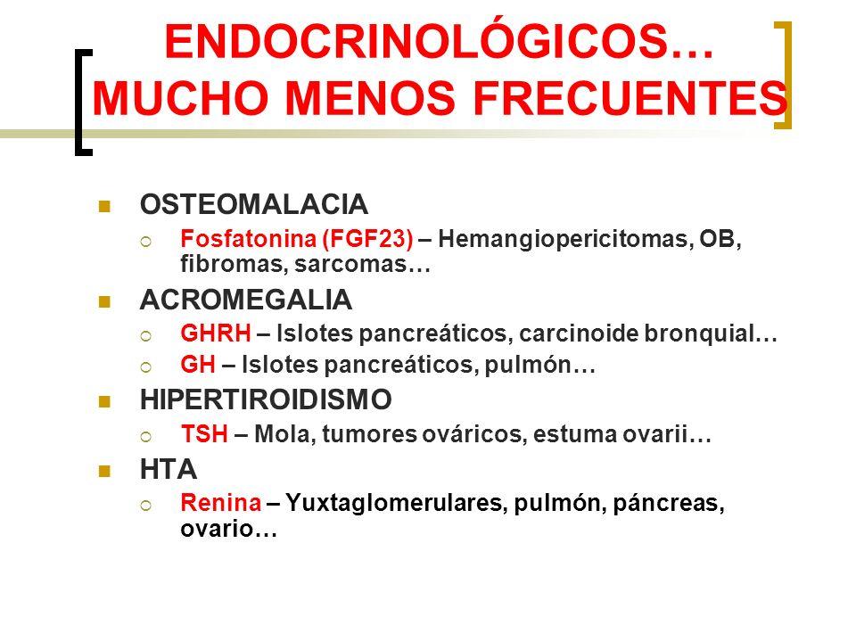 ENDOCRINOLÓGICOS… MUCHO MENOS FRECUENTES OSTEOMALACIA Fosfatonina (FGF23) – Hemangiopericitomas, OB, fibromas, sarcomas… ACROMEGALIA GHRH – Islotes pa