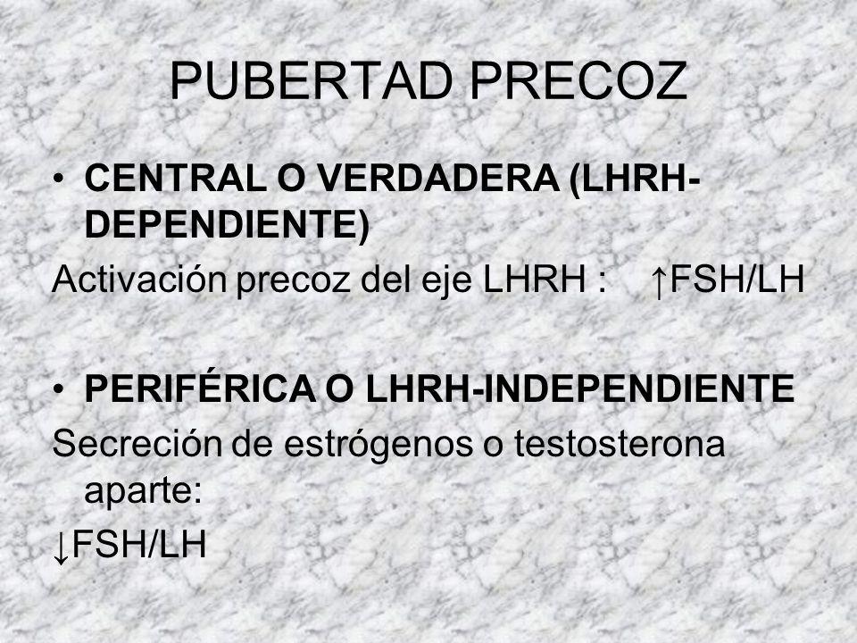 PUBERTAD (conceptos) NIÑAS 6-8 AÑOS: Adrenarquia andrógenos suprarrenales (DHEAs) ACTH independiente. Pulsos nocturnos de LHRH 10-11 AÑOS: Caracteres