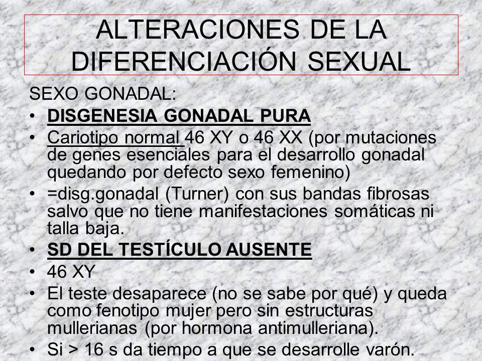 RESUMEN TRASTORNOS CROMOSÓMICOS AlteraciónCromosom a GónadaGenitales internos Genitales externos Caracte- rísticas Klinefelter47 XXY o 46 XY/47XXY Hia