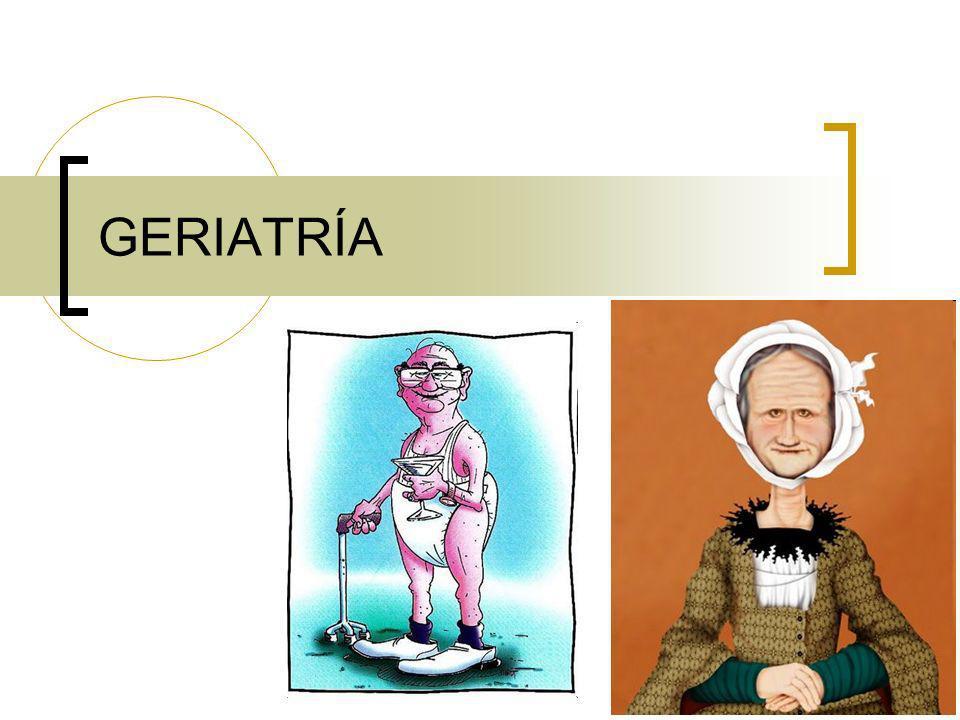 Tendencia a la obesidad Tendencia a la deshidratación y alteraciones h-e Hipotensión ortostática Presbicia Cataratas Presbiacusia Disfunción tiroidea Osteomalacia y OP Intolerancia a la glucosa DM Arterias rígidas: HTAs, HVI, síncopes Mala respuesta a estrés por peor respuesta beta Menor reflejo tusígeno- aspiraciones Menos elasticidad pulmonar – disnea por restricción (DLCO) Más RAMs Malabsorción Estreñimiento Baja función de linfos T - Anergia Más autoanticuerpos - Autoinmunidad Menor FG OTROS CAMBIOS… ATROFIA VAGINAL - URETRAL: DISPAREUNIA - ITU HIPERPLASIA PRÓSTATA: RETENCIÓN ORINA - ADENOMA MENOS DENSIDAD ÓSEA: OSTEOPOROSIS ATROFIA ENCEFÁLICA (OLVIDOS BENIGNOS): DEMENCIA MENOS CATECOLAMINAS: DEPRESIÓN MENOS DOPAMINA: PARKINSON PEOR REFLEJO ENDEREZAMIENTO: BALANCEO POSTURAL - CAÍDAS REDUCCIÓN FASE 4 SUEÑO: DESPERTAR TEMPRANO PEOR REGULACIÓN TÉRMICA: HIPOTERMIA.
