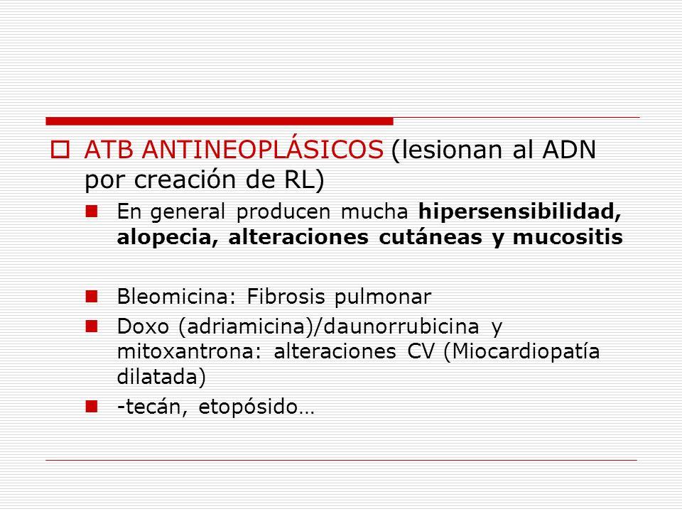 INTERACCIÓN INDIRECTA CON ADN ANTIMETABOLITOS (interponen productos similares a purinas y pirimidinas para interferir con síntesis de ADN) Mielosupresión, estomatitis y diarrea Aza y 6MP: Mielosupresión y afectación hepática MTX: Hígado, pulmones y túbulos renales Hidroxiurea 5-FU, asparaginasa, ARA-C (Citarabina)…