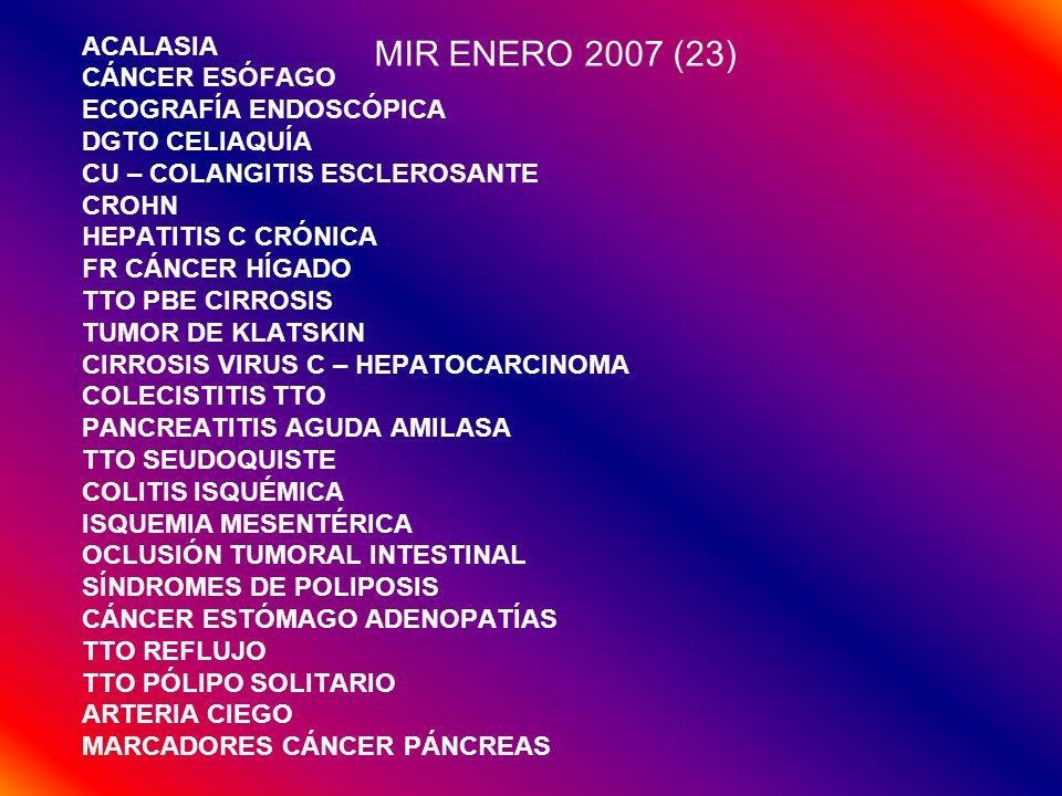 MIR ENERO 2007 (23) ACALASIA CÁNCER ESÓFAGO ECOGRAFÍA ENDOSCÓPICA DGTO CELIAQUÍA CU – COLANGITIS ESCLEROSANTE CROHN HEPATITIS C CRÓNICA FR CÁNCER HÍGA