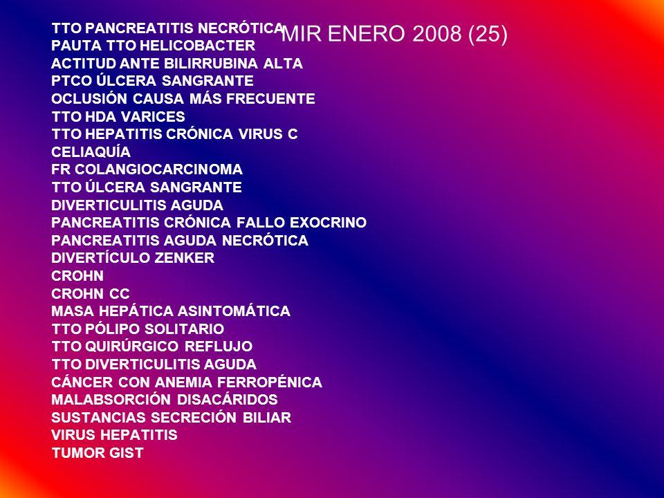 MIR ENERO 2008 (25) TTO PANCREATITIS NECRÓTICA PAUTA TTO HELICOBACTER ACTITUD ANTE BILIRRUBINA ALTA PTCO ÚLCERA SANGRANTE OCLUSIÓN CAUSA MÁS FRECUENTE