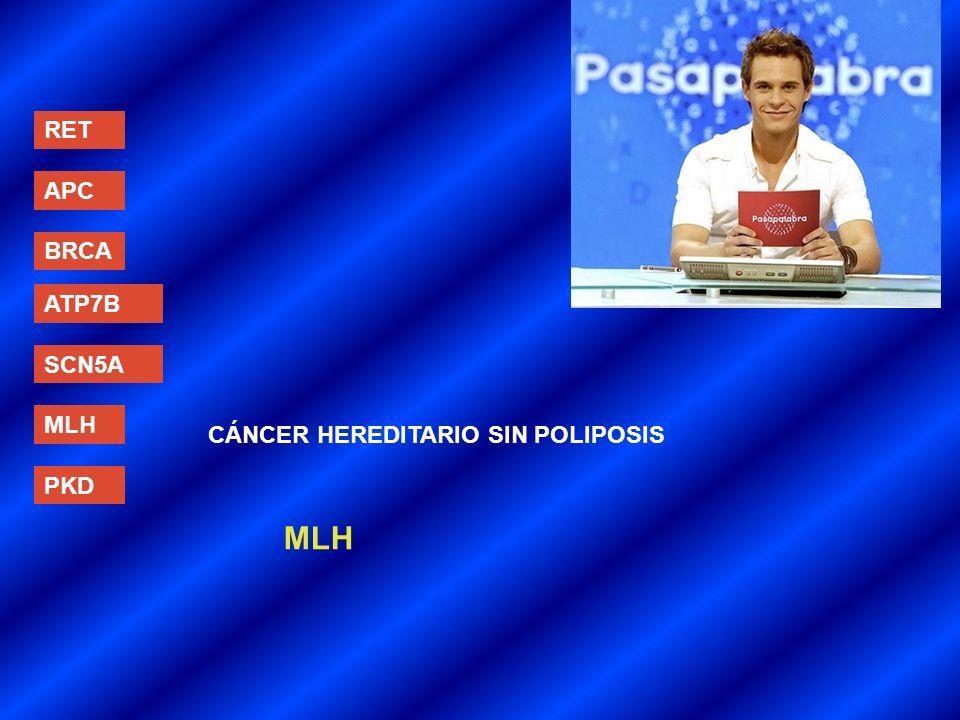 RET APC BRCA ATP7B SCN5A MLH PKD CÁNCER HEREDITARIO SIN POLIPOSIS MLH