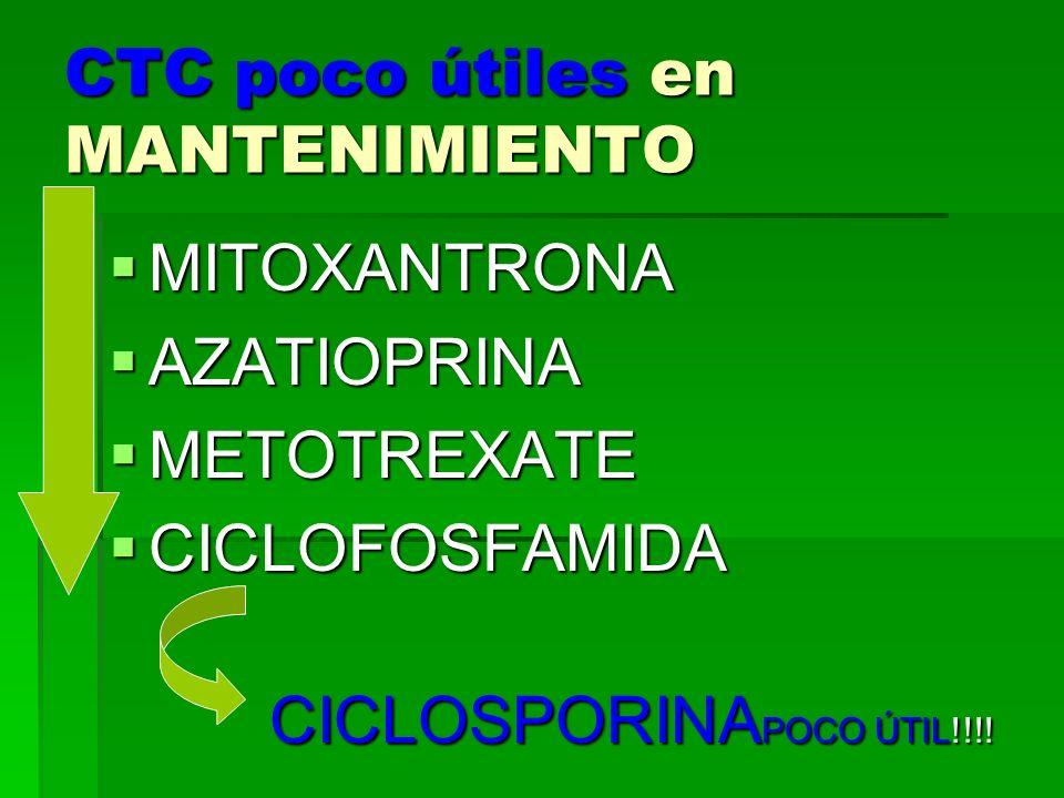 CTC poco útiles en MANTENIMIENTO MITOXANTRONA MITOXANTRONA AZATIOPRINA AZATIOPRINA METOTREXATE METOTREXATE CICLOFOSFAMIDA CICLOFOSFAMIDA CICLOSPORINA