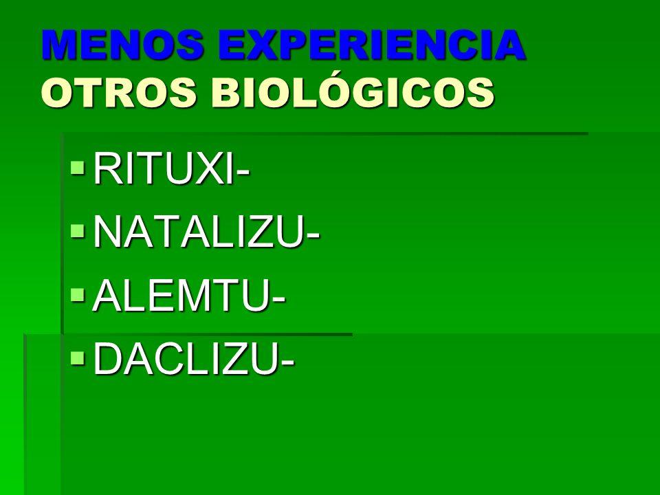 MENOS EXPERIENCIA OTROS BIOLÓGICOS RITUXI- RITUXI- NATALIZU- NATALIZU- ALEMTU- ALEMTU- DACLIZU- DACLIZU-