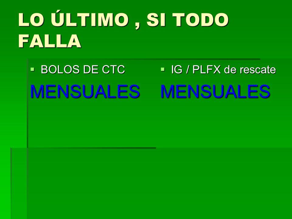 LO ÚLTIMO, SI TODO FALLA BOLOS DE CTC BOLOS DE CTCMENSUALES IG / PLFX de rescate IG / PLFX de rescateMENSUALES