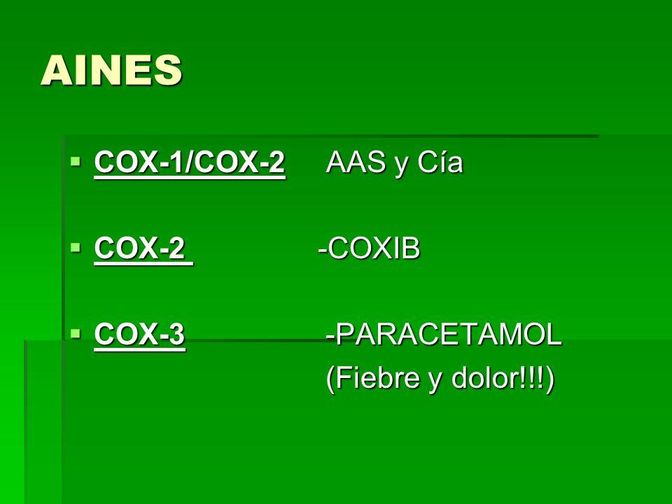 AINES COX-1/COX-2 AAS y Cía COX-1/COX-2 AAS y Cía COX-2 -COXIB COX-2 -COXIB COX-3 -PARACETAMOL COX-3 -PARACETAMOL (Fiebre y dolor!!!) (Fiebre y dolor!