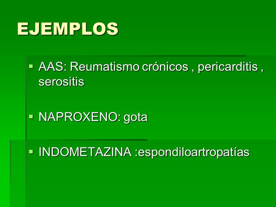 EJEMPLOS AAS: Reumatismo crónicos, pericarditis, serositis AAS: Reumatismo crónicos, pericarditis, serositis NAPROXENO: gota NAPROXENO: gota INDOMETAZ
