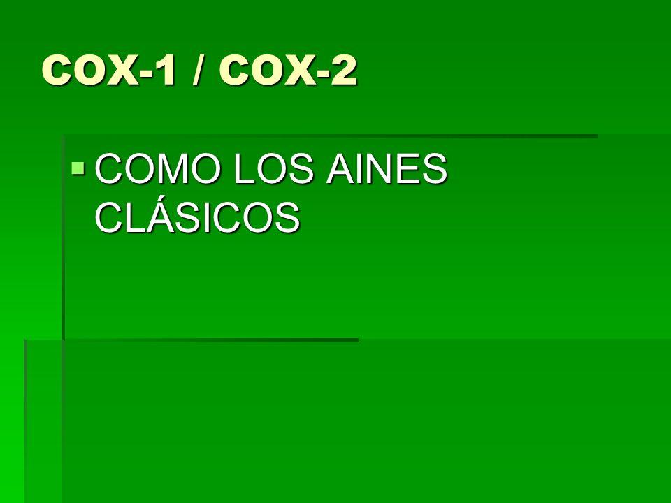 COX-1 / COX-2 COMO LOS AINES CLÁSICOS COMO LOS AINES CLÁSICOS