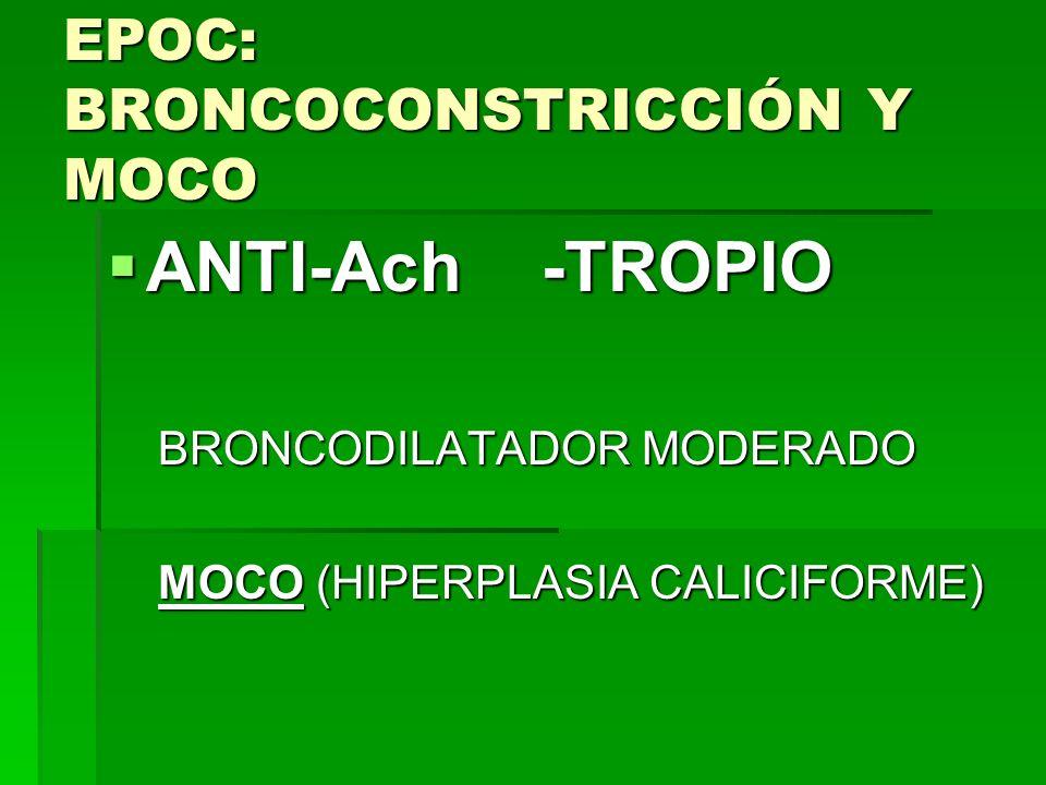 EPOC: BRONCOCONSTRICCIÓN Y MOCO ANTI-Ach -TROPIO ANTI-Ach -TROPIO BRONCODILATADOR MODERADO BRONCODILATADOR MODERADO MOCO (HIPERPLASIA CALICIFORME) MOC