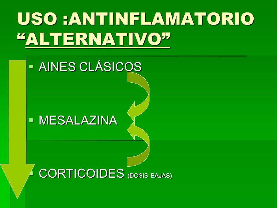 USO :ANTINFLAMATORIOALTERNATIVO AINES CLÁSICOS AINES CLÁSICOS MESALAZINA MESALAZINA CORTICOIDES (DOSIS BAJAS) CORTICOIDES (DOSIS BAJAS)