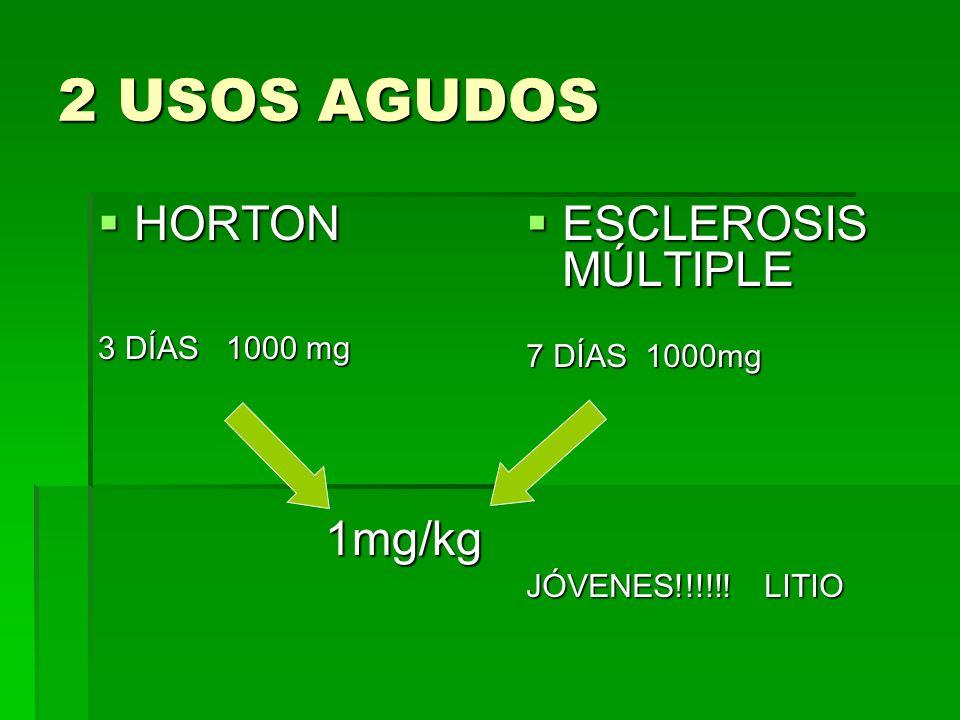 2 USOS AGUDOS HORTON HORTON 3 DÍAS 1000 mg 1mg/kg 1mg/kg ESCLEROSIS MÚLTIPLE ESCLEROSIS MÚLTIPLE 7 DÍAS 1000mg JÓVENES!!!!!! LITIO