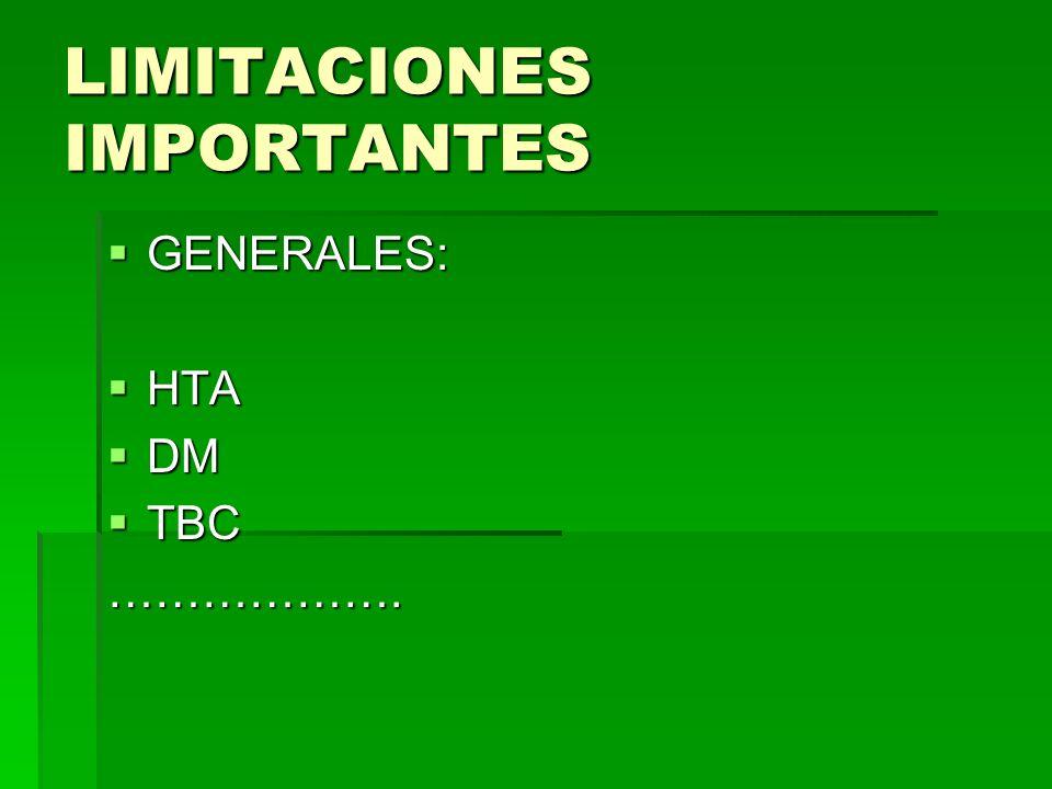 LIMITACIONES IMPORTANTES GENERALES: GENERALES: HTA HTA DM DM TBC TBC……………….