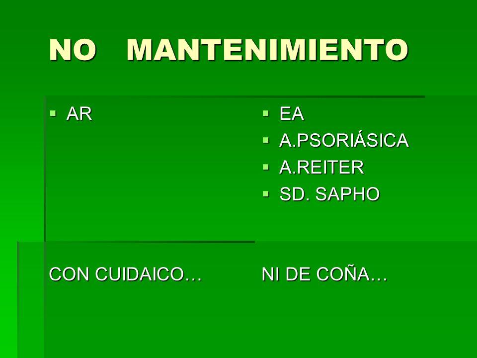 NO MANTENIMIENTO NO MANTENIMIENTO AR AR CON CUIDAICO… EA EA A.PSORIÁSICA A.PSORIÁSICA A.REITER A.REITER SD. SAPHO SD. SAPHO NI DE COÑA…