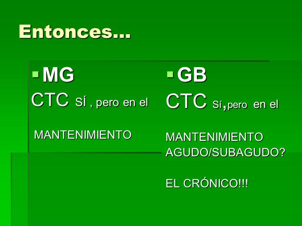 Entonces… MG MG CTC SÍ, pero en el MANTENIMIENTO MANTENIMIENTO GB GB CTC Sí, pero en el MANTENIMIENTOAGUDO/SUBAGUDO? EL CRÓNICO!!!