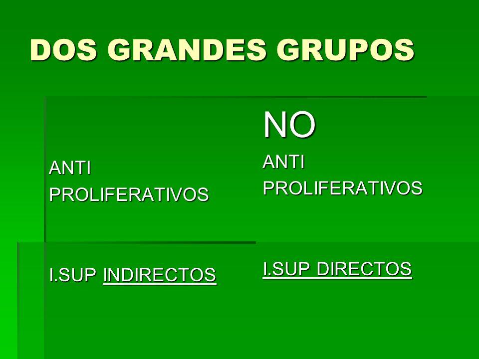DOS GRANDES GRUPOS ANTIPROLIFERATIVOS I.SUP INDIRECTOS NOANTIPROLIFERATIVOS I.SUP DIRECTOS