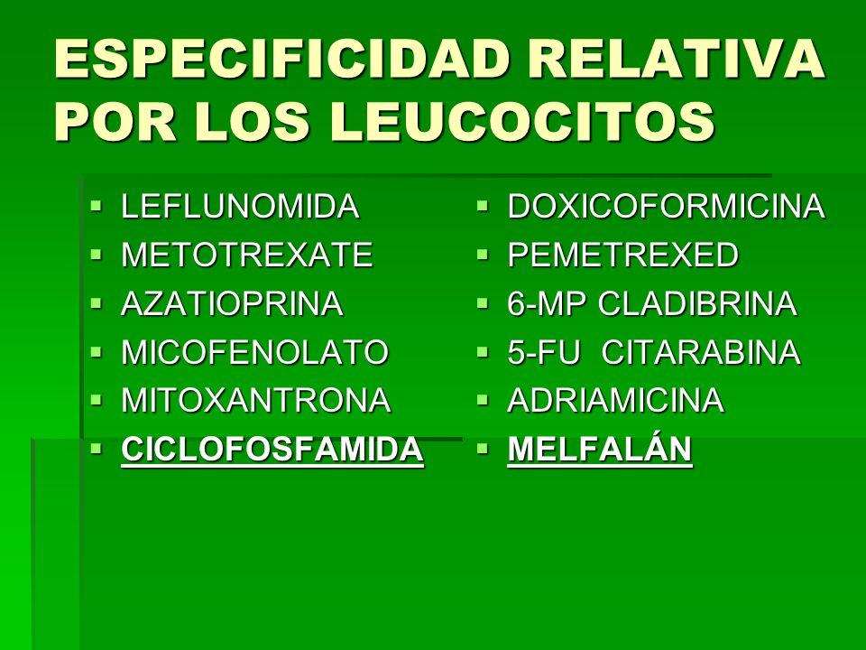 ESPECIFICIDAD RELATIVA POR LOS LEUCOCITOS LEFLUNOMIDA LEFLUNOMIDA METOTREXATE METOTREXATE AZATIOPRINA AZATIOPRINA MICOFENOLATO MICOFENOLATO MITOXANTRO