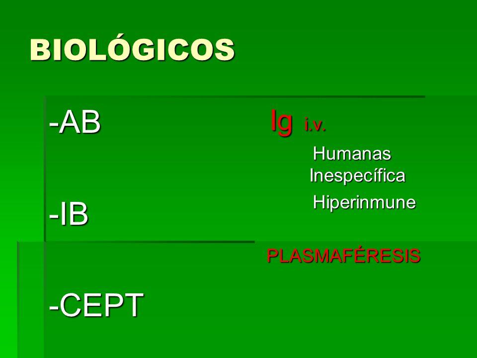 BIOLÓGICOS -AB-IB-CEPT Ig i.v. Ig i.v. Humanas Inespecífica Humanas Inespecífica Hiperinmune Hiperinmune PLASMAFÉRESIS PLASMAFÉRESIS