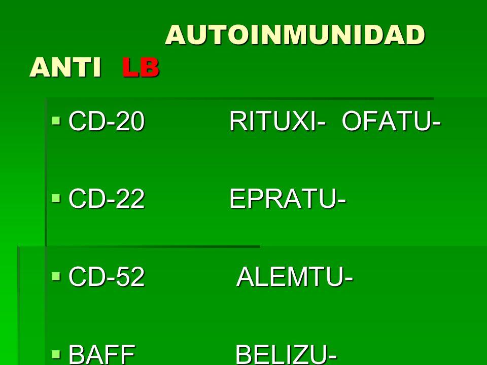 AUTOINMUNIDAD ANTI LB AUTOINMUNIDAD ANTI LB CD-20 RITUXI- OFATU- CD-20 RITUXI- OFATU- CD-22 EPRATU- CD-22 EPRATU- CD-52 ALEMTU- CD-52 ALEMTU- BAFF BEL