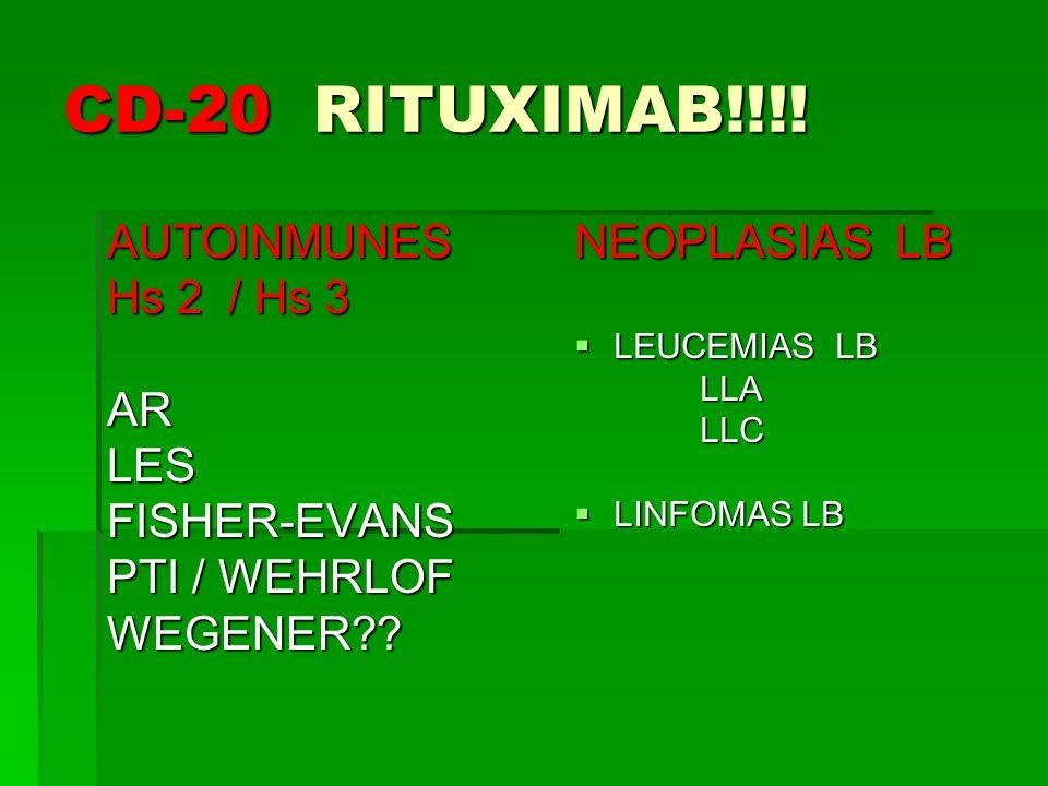 CD-20 RITUXIMAB!!!! AUTOINMUNES Hs 2 / Hs 3 ARLESFISHER-EVANS PTI / WEHRLOF WEGENER?? NEOPLASIAS LB LEUCEMIAS LB LEUCEMIAS LB LLA LLA LLC LLC LINFOMAS