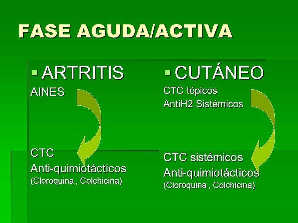 FASE AGUDA/ACTIVA ARTRITIS ARTRITISAINESCTCAnti-quimiotácticos (Cloroquina, Colchicina) CUTÁNEO CUTÁNEO CTC tópicos AntiH2 Sistémicos CTC sistémicos A