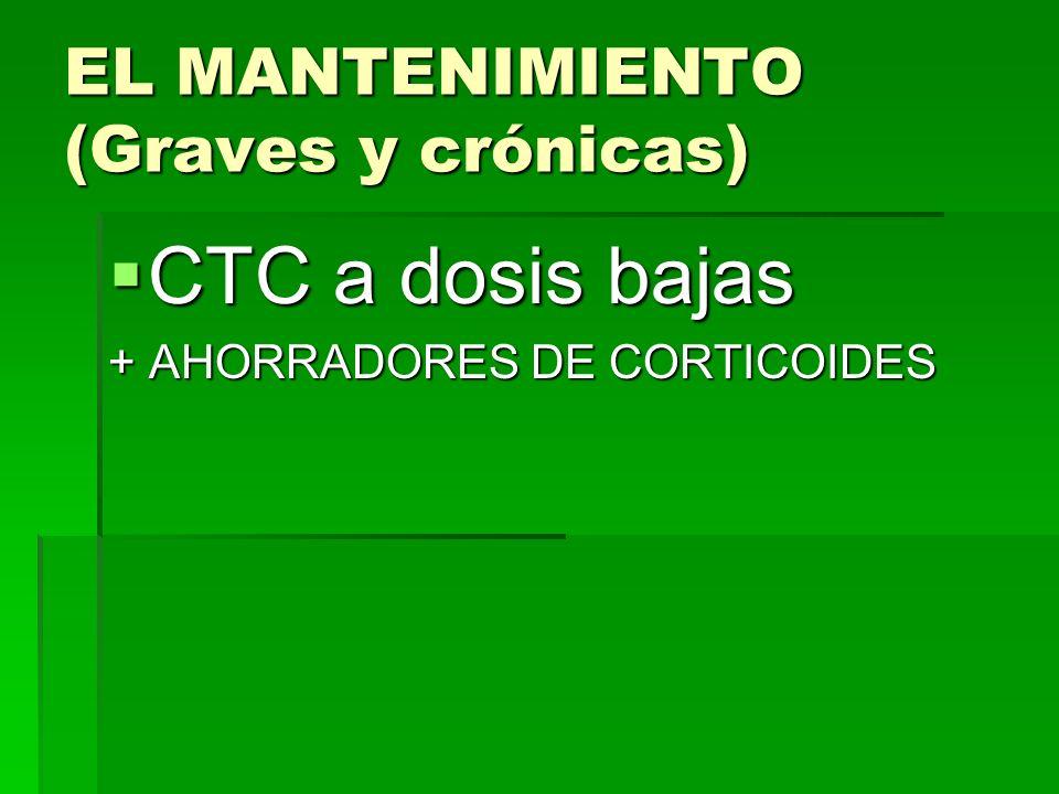 EL MANTENIMIENTO (Graves y crónicas) CTC a dosis bajas CTC a dosis bajas + AHORRADORES DE CORTICOIDES