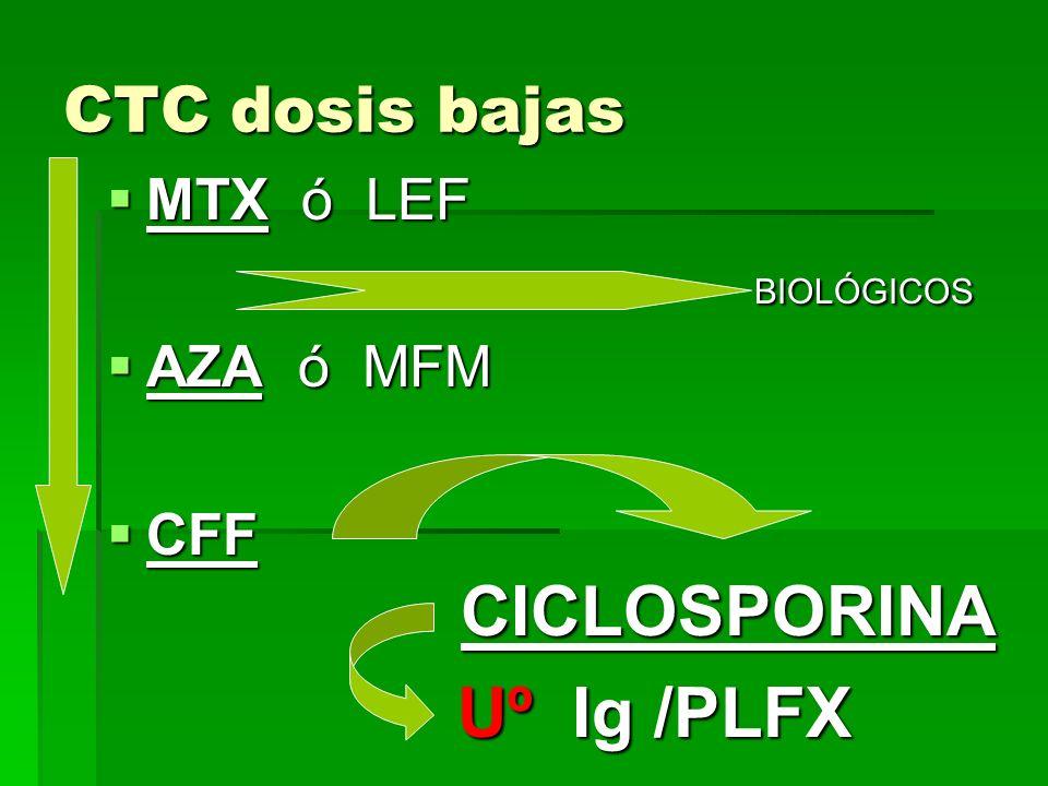 CTC dosis bajas MTX ó LEF MTX ó LEF BIOLÓGICOS BIOLÓGICOS AZA ó MFM AZA ó MFM CFF CICLOSPORINA CFF CICLOSPORINA Uº Ig /PLFX Uº Ig /PLFX