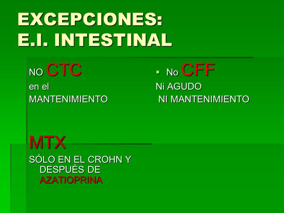 EXCEPCIONES: E.I. INTESTINAL NO CTC en el MANTENIMIENTOMTX SÓLO EN EL CROHN Y DESPUÉS DE AZATIOPRINA No CFF No CFF Ni AGUDO NI MANTENIMIENTO NI MANTEN