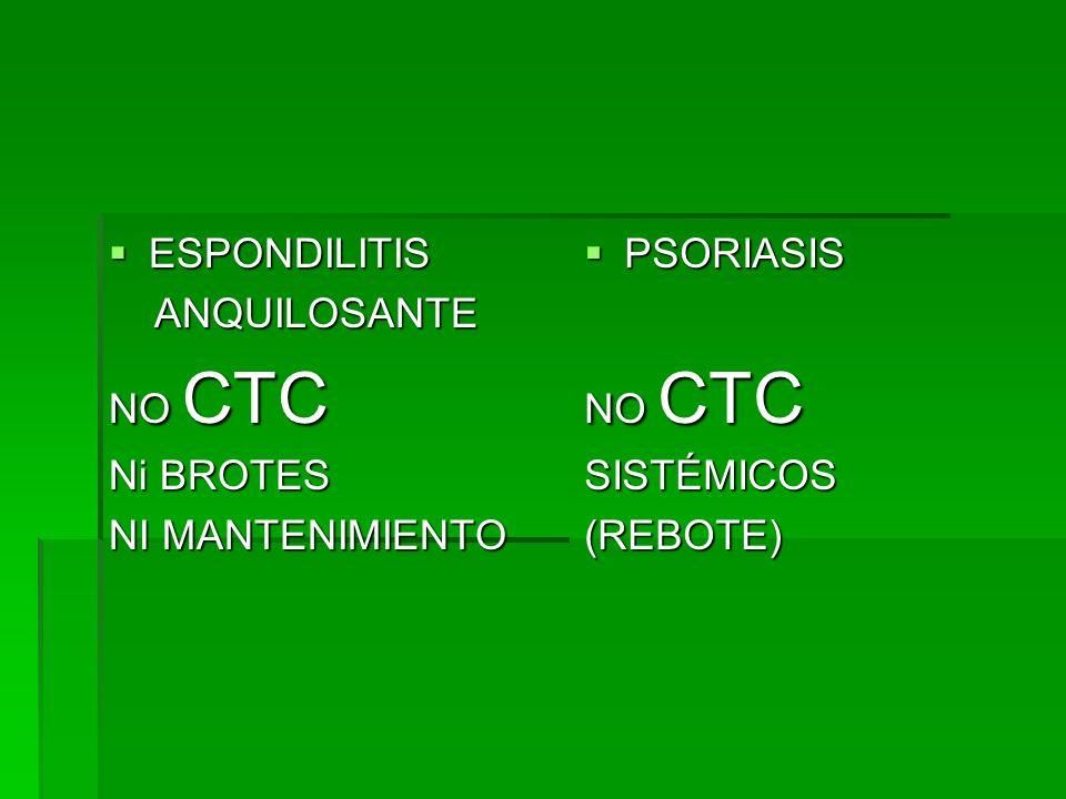 ESPONDILITIS ESPONDILITIS ANQUILOSANTE ANQUILOSANTE NO CTC Ni BROTES NI MANTENIMIENTO PSORIASIS PSORIASIS NO CTC SISTÉMICOS(REBOTE)