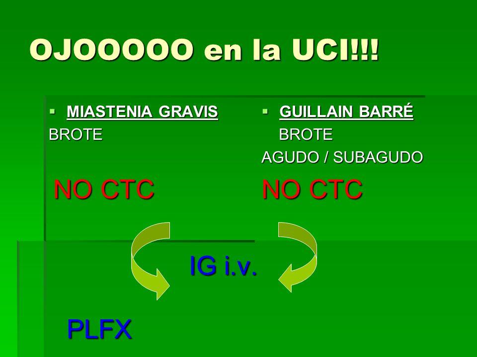 OJOOOOO en la UCI!!! MIASTENIA GRAVIS MIASTENIA GRAVISBROTE NO CTC NO CTC IG i.v. PLFX IG i.v. PLFX GUILLAIN BARRÉ GUILLAIN BARRÉ BROTE BROTE AGUDO /