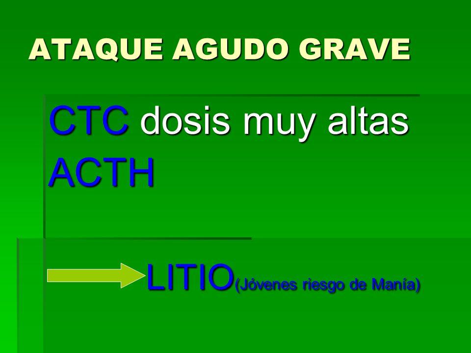 ATAQUE AGUDO GRAVE CTC dosis muy altas ACTH LITIO (Jóvenes riesgo de Manía) LITIO (Jóvenes riesgo de Manía)