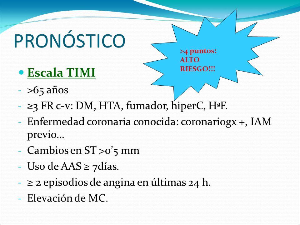 PRONÓSTICO Escala TIMI - >65 años - 3 FR c-v: DM, HTA, fumador, hiperC, HªF. - Enfermedad coronaria conocida: coronariogx +, IAM previo… - Cambios en