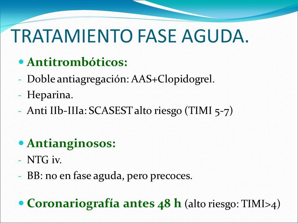 TRATAMIENTO FASE AGUDA. Antitrombóticos: - Doble antiagregación: AAS+Clopidogrel. - Heparina. - Anti IIb-IIIa: SCASEST alto riesgo (TIMI 5-7) Antiangi