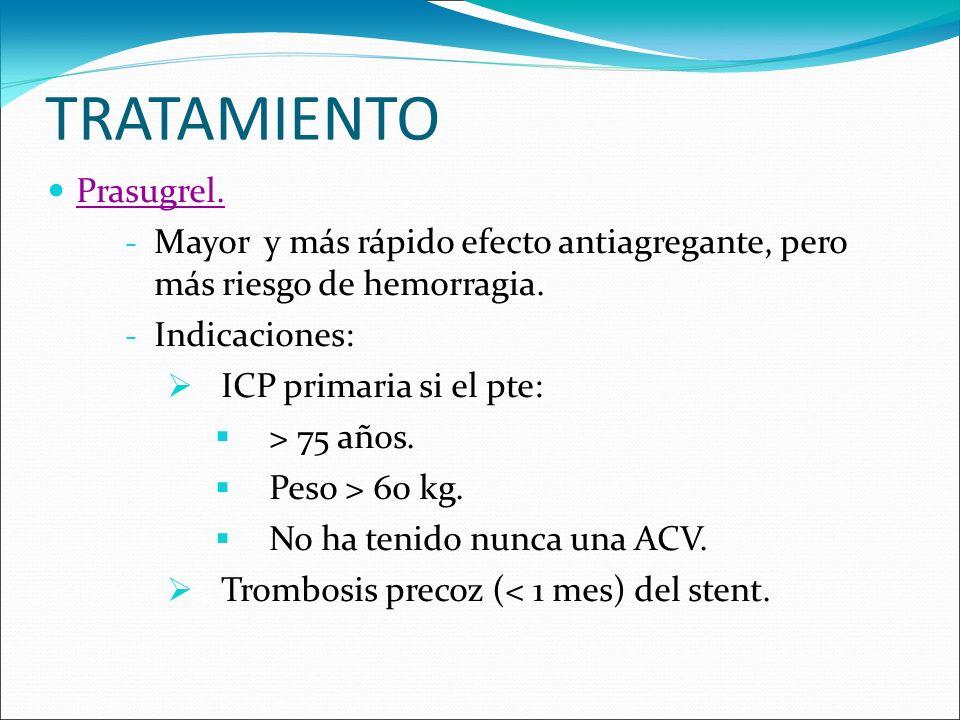 TRATAMIENTO Prasugrel. - Mayor y más rápido efecto antiagregante, pero más riesgo de hemorragia. - Indicaciones: ICP primaria si el pte: > 75 años. Pe