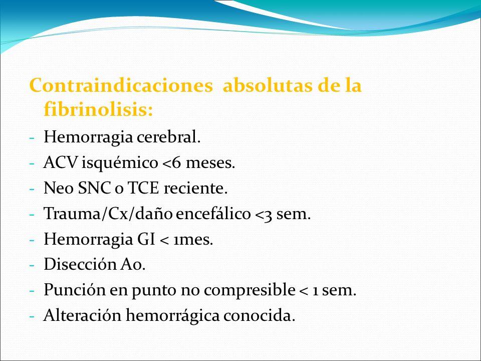 Contraindicaciones absolutas de la fibrinolisis: - Hemorragia cerebral. - ACV isquémico <6 meses. - Neo SNC o TCE reciente. - Trauma/Cx/daño encefálic